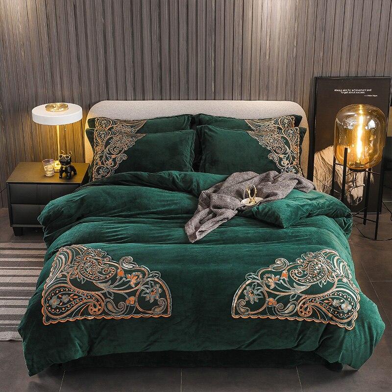 Grün Braun Beige Grau Luxus Winter Dicke Samt Flanell Fleece Bettwäsche set Kurze Plüsch Spitze bettbezug Bett Blatt Kissen