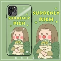 iphone case funny mona lisa girl phone case holding money is suitable for iphone 11promax 12promax case x xr 6sp 7 8 se case