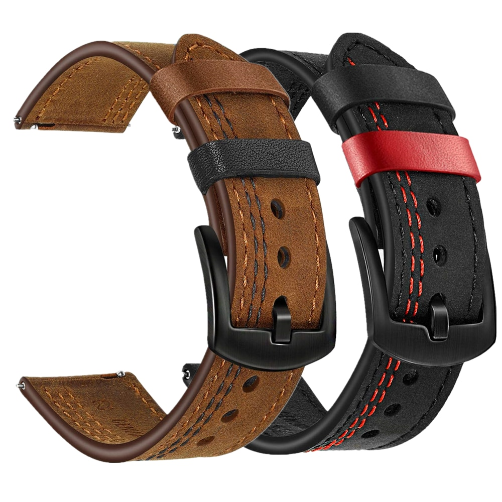 Watchband for galaxy watch 46mm bands 20mm 22mm genuine leather strap wrist bracelet for samsung gear s3 /active 2 40mm 44mm