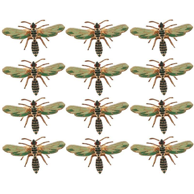 12 قطعة منديل اليعسوب مشبك منديل حلقة سبيكة الأخضر الحشرات اليعسوب بالتنقيط الماس مشبك المناشف الورقية حامل مناديل