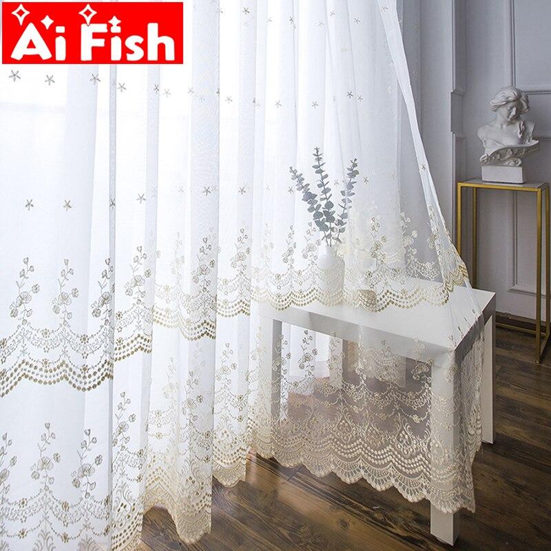 Cortinas blancas, elegante tela de malla, tul nórdico bordado, encaje puro de tul para sala de estar, cortinas de ventana acabadas M061 #50