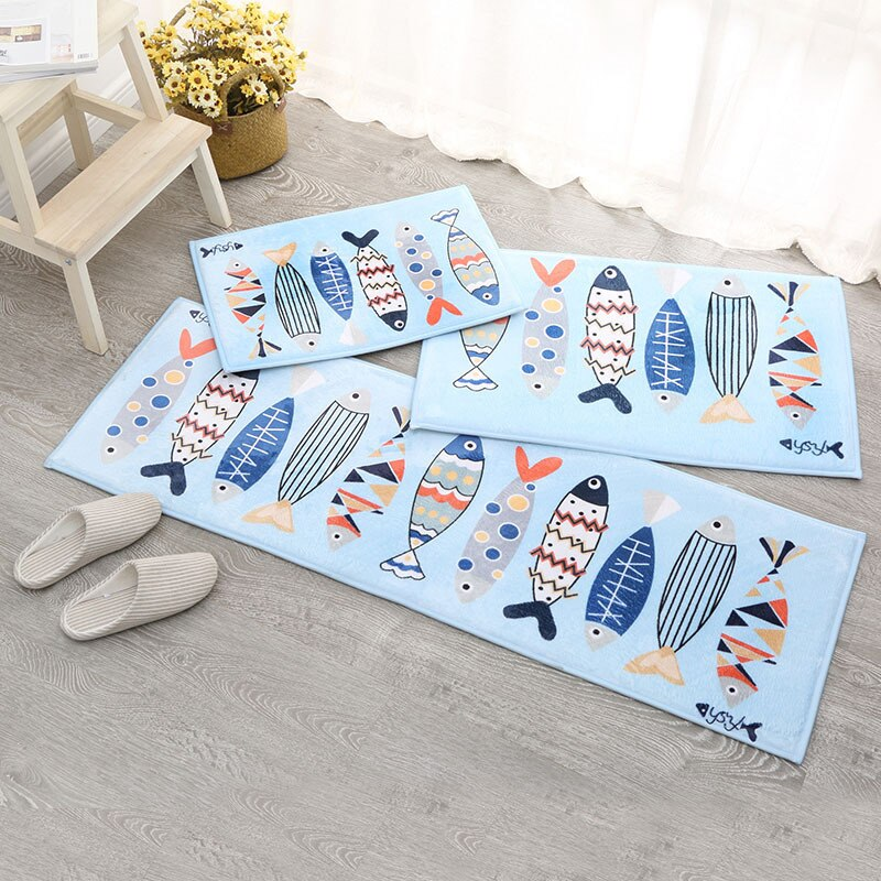 Newly Cute Fish Print Multiuse Flannel Bath Mat Home Decor Non-Slip Bathroom Mats Toilet Rugs Absorbent Hallway Bedside Carpet