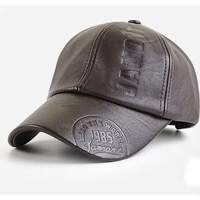 mens european and american fashion embossed concave leather baseball cap waterproof and high quality