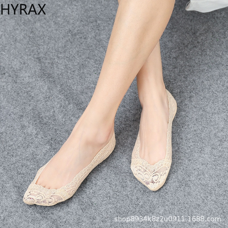 HYRAX Summer Korean Version Lace Boat Socks Women Silicone Light Mouth Invisible Socks Solid Cotton