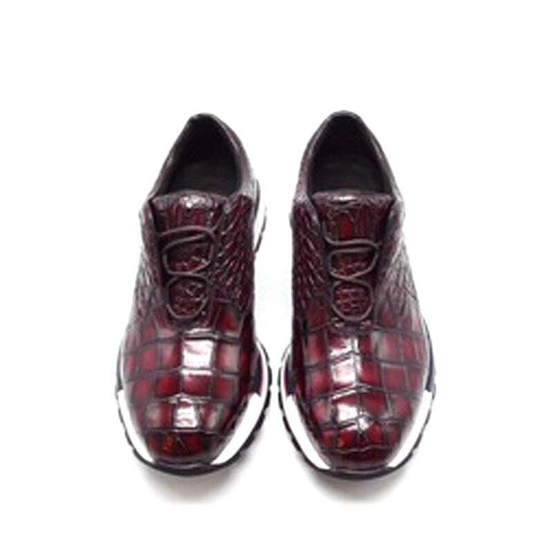 Chue-حذاء جلد التمساح الأصلي للرجال ، مع نعل مطاطي ، وأحذية ترفيهية ، ولون فرشاة