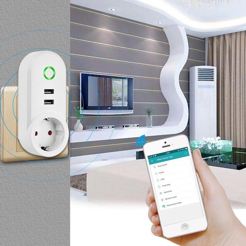 Smart Buchse Alexa Voice Control Smart Buchse EU Dual Usb Universal Reise Adapter WIFI Smart Power Streifen Adaptador Enchufe