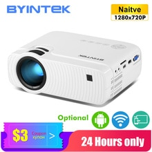 BYINTEK Mini Proyector K2 contra salpicaduras y bandeja para viruta, lámina de acero 1280mm para 720P Smart Android Wifi Proyector de vídeo; Portátil Proyector de LED para 1080P 3D 4K de cine en casa