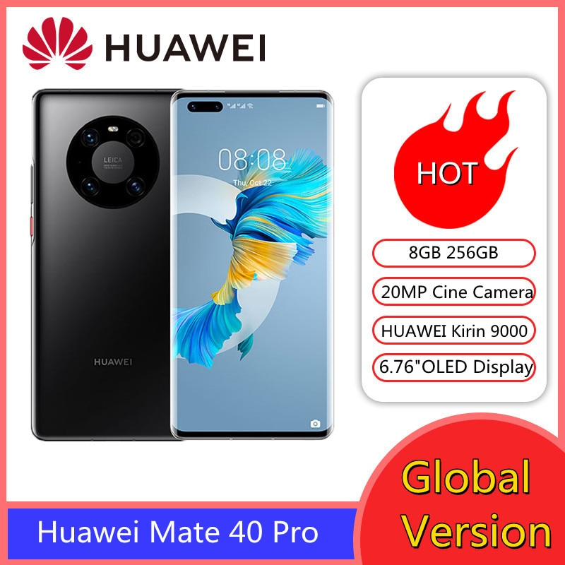 Original Huawei Mate 40 Pro 5G Cell Phone Kirin 9000 Octa Core 6.76inch OLED 50MP Camera 400Mah Android10 Wi-Fi 6+ NFC Cellphone