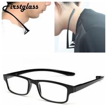 Висячие очки для чтения на шею Мужская квадратная оправа черные гибкие руки пресбиопические очки для глаз женские пластиковые портативные ...