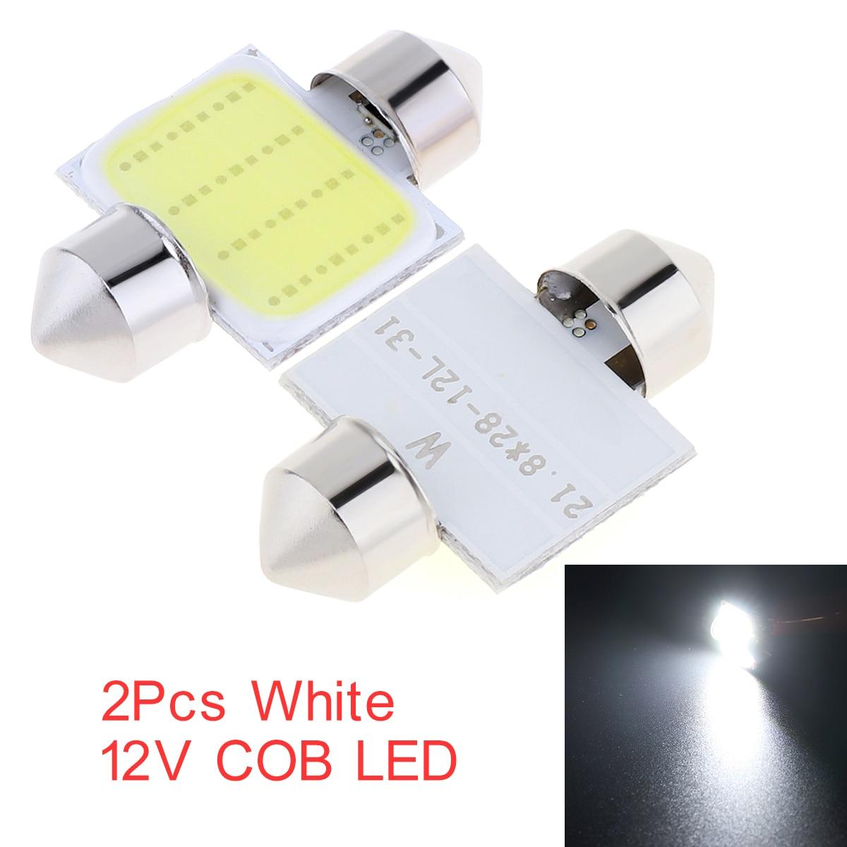 2PCS Auto Licht Weiß 31mm 12-SMD 12V COB LED Auto Innen Dome Karte Licht Lampen DE3175 Für auto Fahrzeug Auto