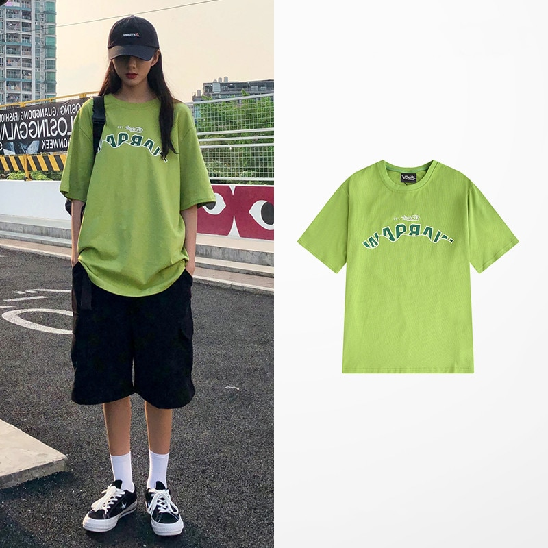Loose European and American Ins Fashion Brand 2021 Spring and Summer Couple Wear Apple Green Short S