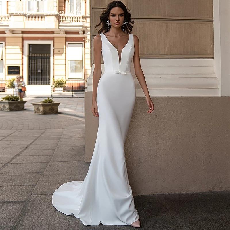 Promo Luxury Matte Soft Satin Wedding Dresses Sleeveless Deep V-neck Bridal Gowns Floor-length Backless Tailor-Made