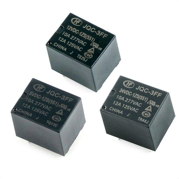 10 teile/los Neue Relais JQC-3FF-5VDC-1ZS JQC-3FF-12VDC-1ZS JQC-3FF-24VDC-1ZS JQC 3FF 12VDC 1ZS Hf3ff 5v 9v 12v 24v 5pin