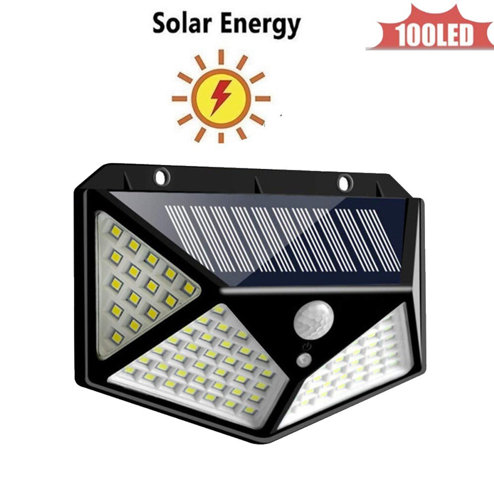 PIR Motion Sensor 100 LED Solar Light Outdoor Solar Powered LED Garden Light Waterproof Emergency Wall Lamp With Cable 4 sided 2
