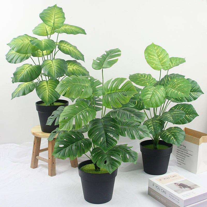 65cm 18 głowice tropikalne sztuczne Monstera fałszywe liście palmowe prawdziwy dotyk żółw rośliny liściowe ściany liście drzewo z tworzywa sztucznego Home Decor