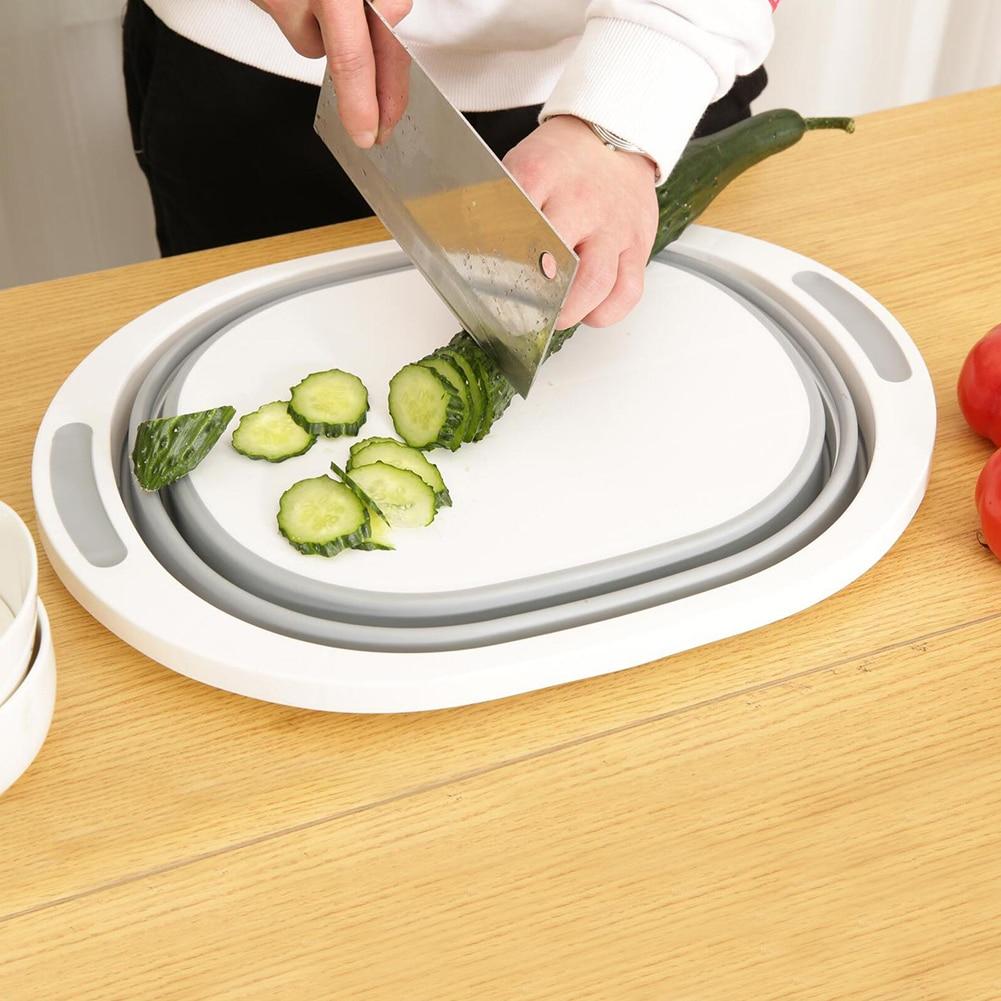 Tabla de cortar plegable multifunción 2 en 1, tabla de cortar para cocina, cesta de lavar, cesta de almacenamiento plegable para fruta y verdura