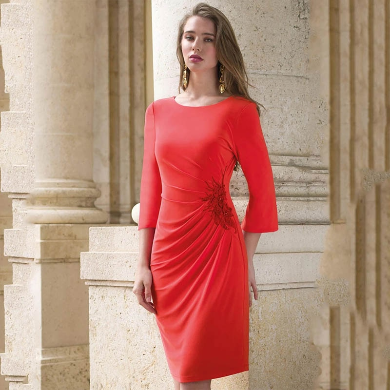 black zip design square neck 3 4 length sleeves dresses Latest Arrival Coral Short Mother of the Bride Dresses with 3/4 Sleeves Jewel Neck Wedding Party Dresses Knee Length Appliqued