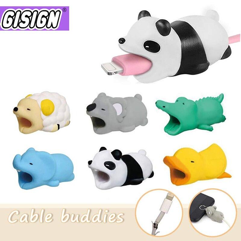 Милый защитный кабель для Iphone, Android, медведь, собака, аниме, Забавный кабель, держатель для телефона, аксессуары для друзей