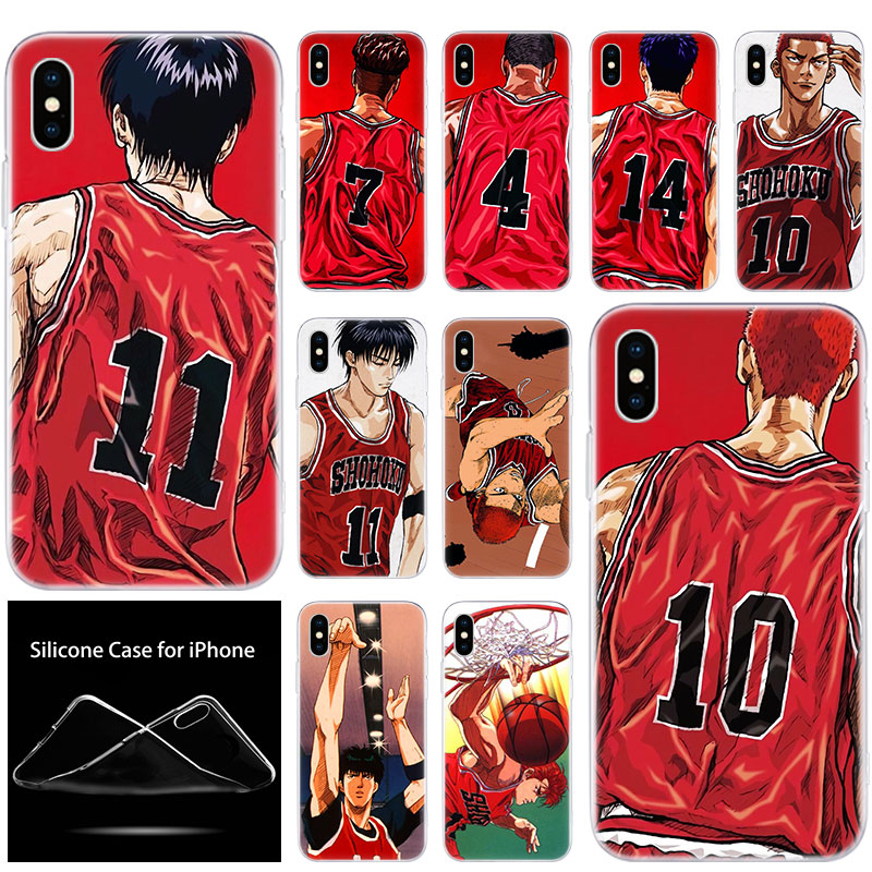 De Lujo suave de silicona teléfono caso Anime Slam dunk Sakurag para Apple iPhone 11 Pro XS Max X XR 6S 6 7 8 Plus 5 5S SE de la cubierta a la moda de la