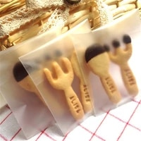 100 pcslot thick frosted cookie self adhesive bag button biscuit cookies packaging translucent without pattern