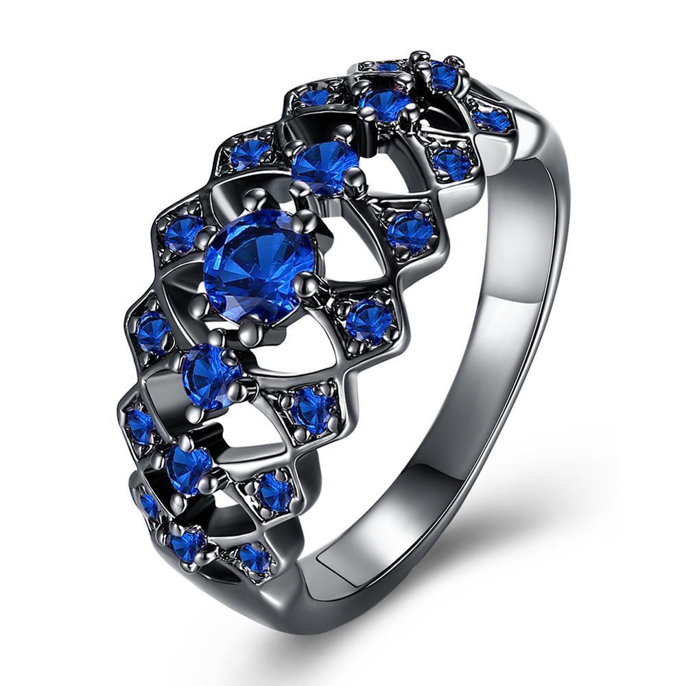 Tamanho 6-8-9 gun preto chapeado vintage oco rosa azul laranja zircão anéis geométricos para mulher preto jewellry