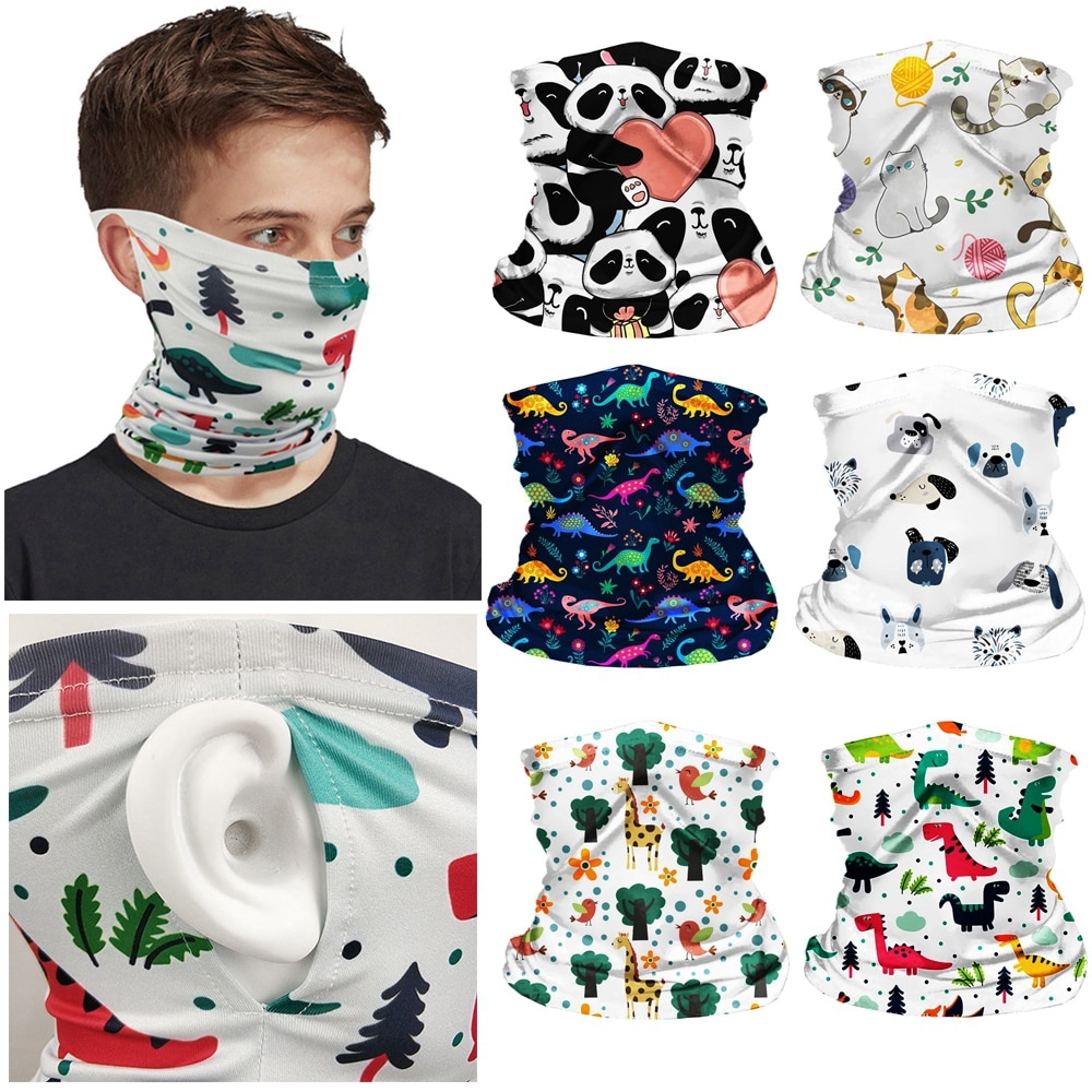 Hanging Ear Kids Head Face Neck Gaiter Tube Bandana Scarf Outdoor Cycling Accessories with Invisible