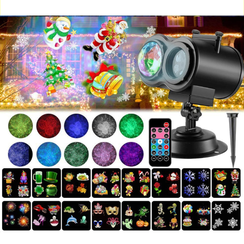 Holiday Decorative LED Projector With Water Wave Light Remote Control Party Holiday Outdoor Indoor LED Projection Waterproof