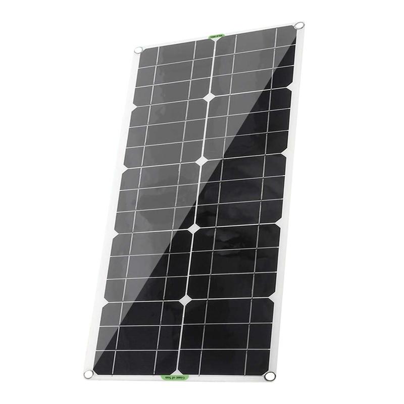 لوح شمسي عالي الكفاءة محمول 100W12V5V للهاتف المحمول QC3.0 ، لوحة شمسية مرنة سيارة في الهواء الطلق في حالات الطوارئ الشحن
