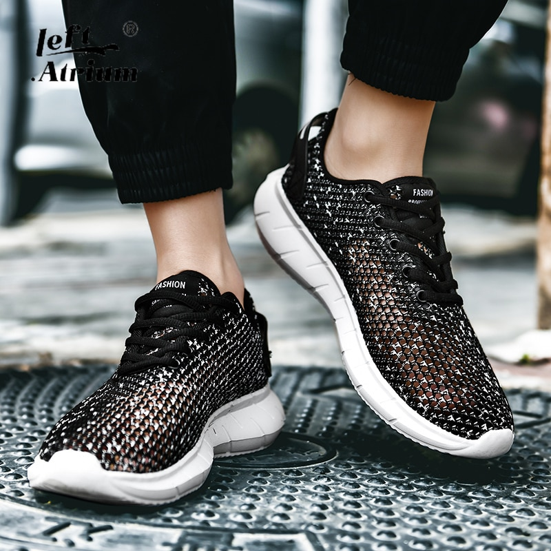 Fashion Men Shoes Leisure Summer Super Light Breathable Woven Mesh Shoes Black Casual Shoes Men Sneakers Soft Mens Trainers