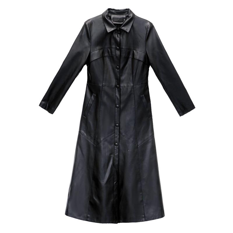 X-Long Women Leather Jacket Plus Cotton Autumn Winter Plus Size 5XL Thick Soft Pu Leather Jacket Women Faux Leather Trench Coat enlarge