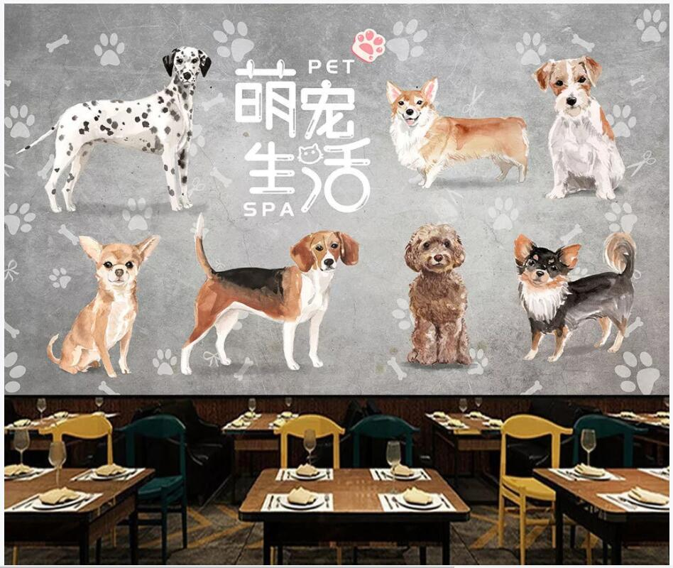 WDBH 3d papel tapiz personalizado foto pintada a mano perro mascota herramientas decoración para el hogar sala de estar pared 3d murales papel tapiz para las paredes 3 d