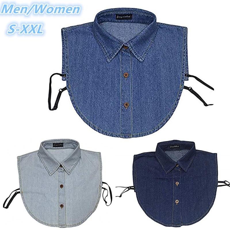 Nuevo Collar de imitación a la moda hombres mujeres Demin desmontable cuello de solapa suéter chaqueta Decoración Ropa Accesorios media camisa blusa