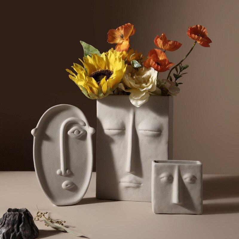Ceramic pots for plants Abstract face art flower vase head pot macetas de ceramica balcony decorations vaso planta home decor