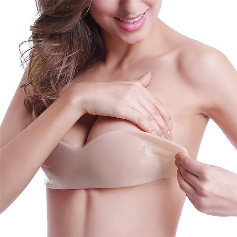 Mujeres silicona Push Up Bra Sexy Invisible Bras Auto adhesivo sin tirantes vendaje negro sólido sujetador gran oferta