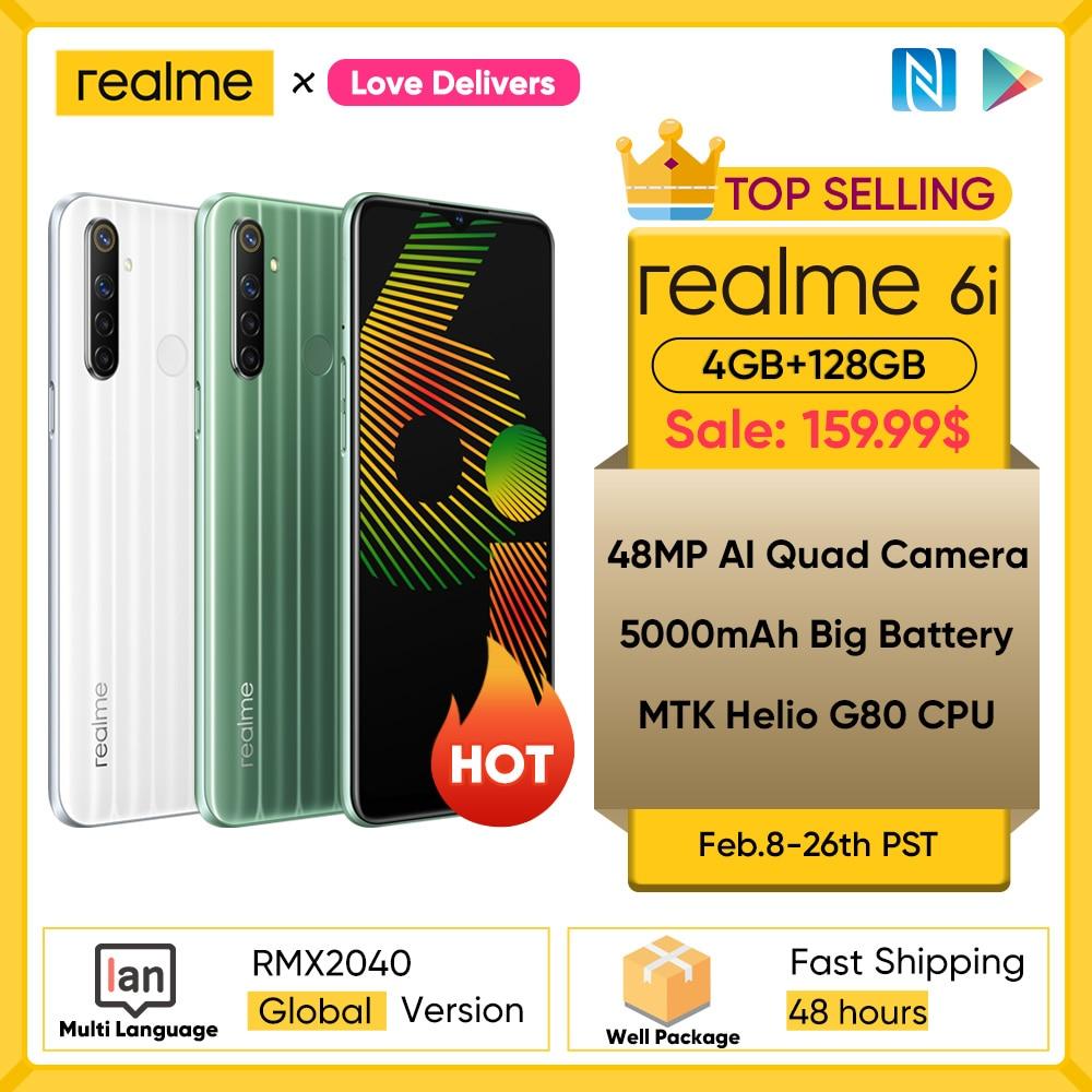 realme 6i 6 i Global Version Mobile Phone 4GB RAM 128GB ROM EU Plug Charger MTK Helio G80 5000mAh Dewdrop display 6.5