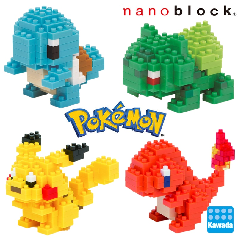 Kawada Nanoblock Pokemon Pikachu Anime Cartoon 3D Model Diamond mini micro Block Building Blocks Bricks Assembly Toys Games