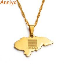Anniyoc petite taille Honduras carte pendentif colliers pour femmes couleur or breloque cartes bijoux patriotique meilleurs cadeaux #017421