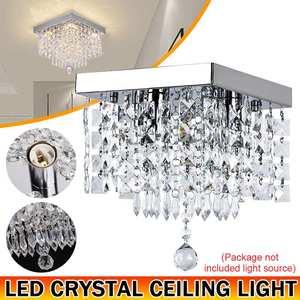 Modern Crystal Led Chandeliers Lighting Square LED Lamps Lustre For Living Room Crystal LED Chandelier Ceiling Lamp AC 85-268V