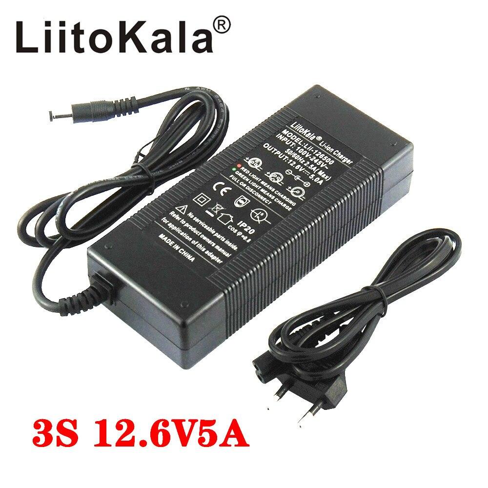 Liitokala, 12,6 V, 5A, 3A, 1A, cargador de batería de litio Serie 3, batería de litio, 12V, cargador de batería + cable de alimentación de CA de EE. UU.