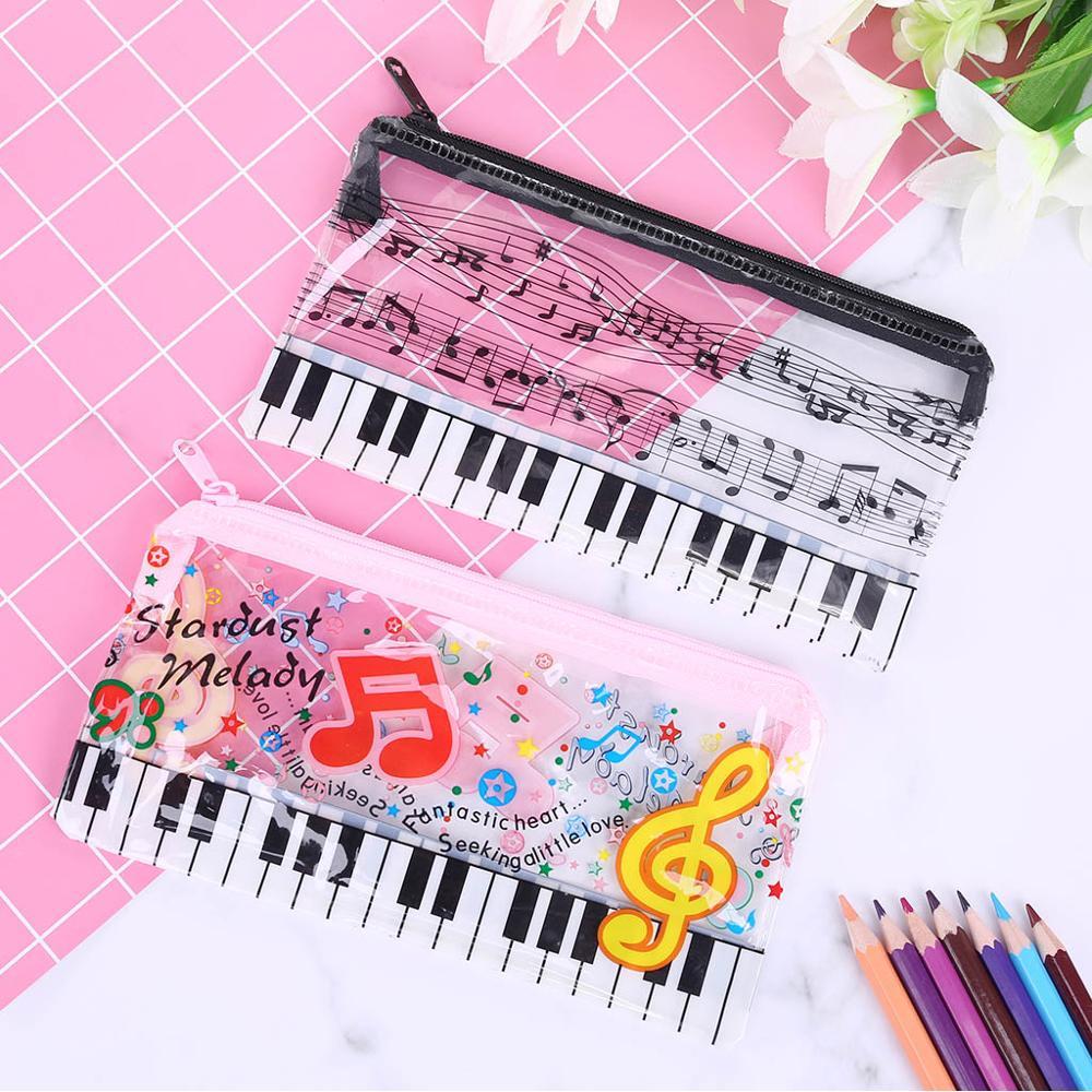 Estuche de lápices para teclado Piano, notas musicales, estuche de plástico transparente para bolígrafos, regalo para estudiantes