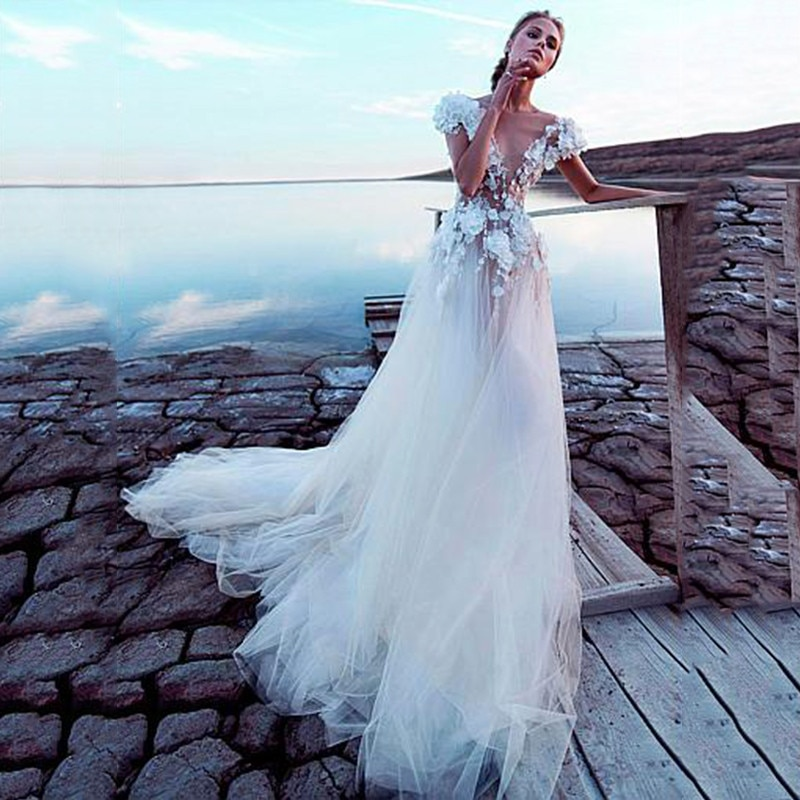Get Sexy Bohemian Lace Wedding Dresses 2021 Short Sleeve Backless Appliques Illusion Tulle For Women Vestidos De Noiva Custom Made
