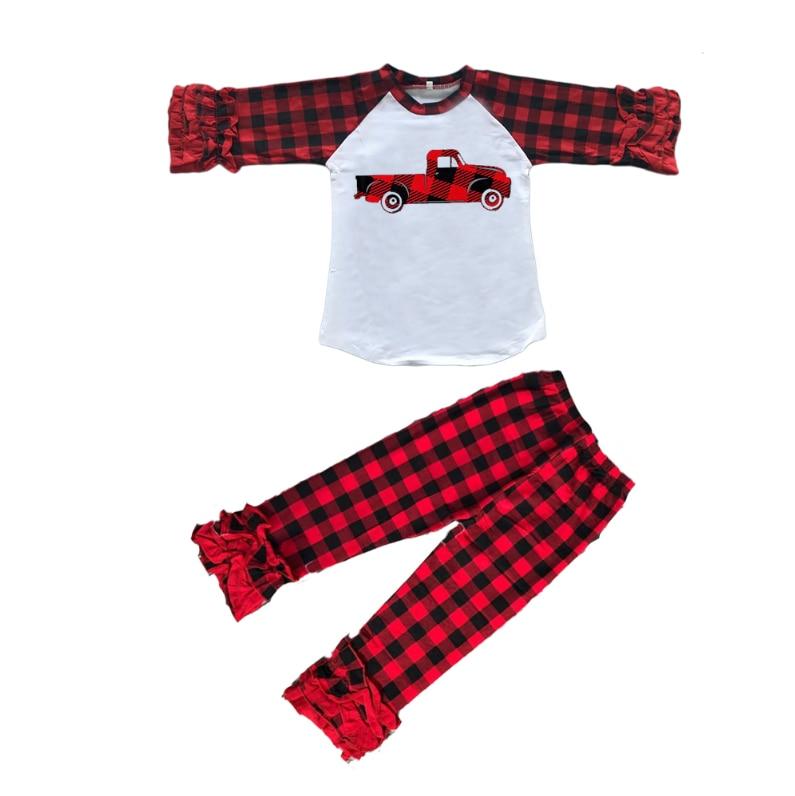 عيد الحب طفل الفتيات ملابس الأطفال مجموعة ملابس بوتيك الأحمر منقوشة شاحنة طباعة كشكش السراويل 100 القطن الفتيات ملابس أطفال