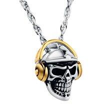 Valily bijoux hommes collier tête de crâne avec bluetooth casque pendentif collier en acier inoxydable mode or Earephones pendentif