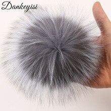 DANKEYISI-Pompon en fourrure de raton laveur   Bricolage, véritable fourrure de renard, pompons en fourrure de vison, Pom Poms pour gants écharpe, bonnet 14-15cm