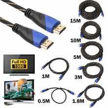 10 м/15 м Плетеный HDMI-совместимый кабель позолоченное соединение V1.4 AV 1080P HD 3D HDMI-совместимые кабели для PS3 Xbox HDTV
