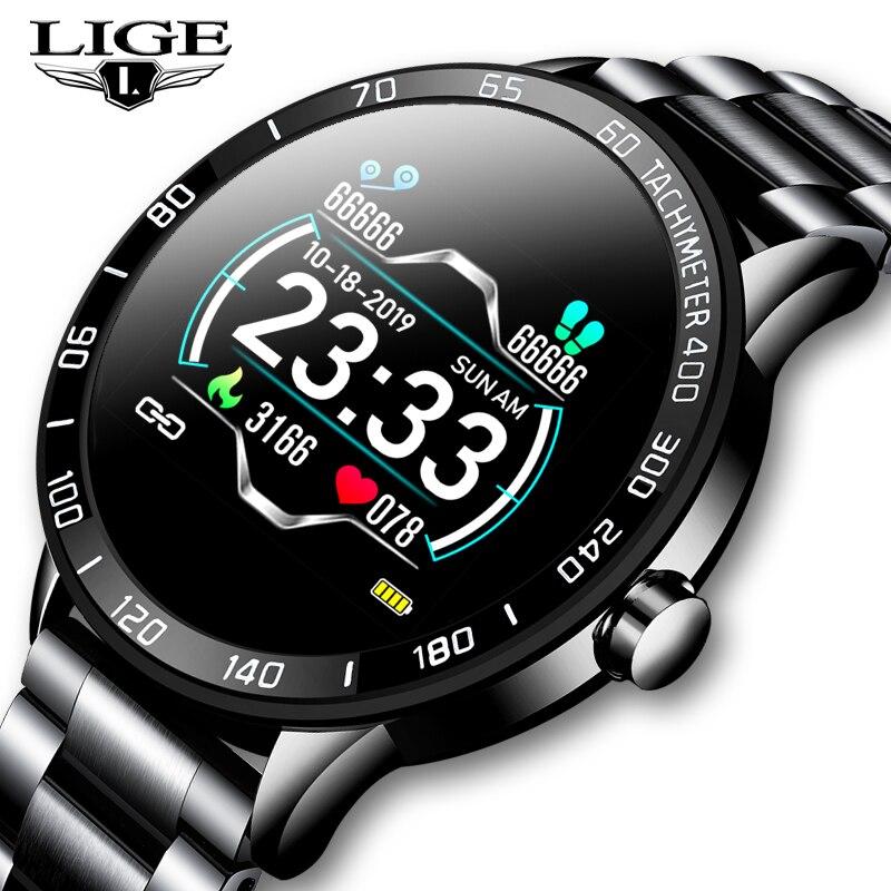 LIGE 2020 جديد ساعة ذكية الرجال مقاوم للماء الرياضة معدل ضربات القلب ضغط الدم جهاز تعقب للياقة البدنية Smartwatch عداد الخطى reloj inteligente