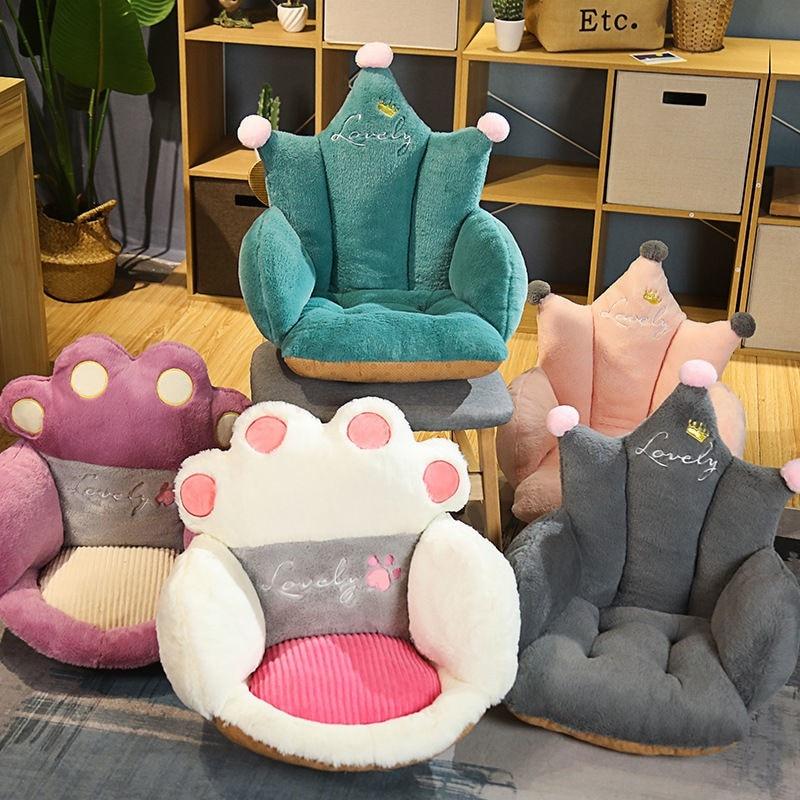Нескользящая Наволочка на диван, стул для детей и взрослых, мультяшная корона, плюшевые подушки для сиденья, напольный удобный наполнитель, ...
