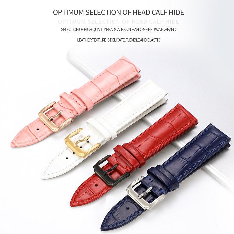 Pulseiras de couro genuíno 12-22mm relógio universal four- colors pin buckle  banda fivela de aço