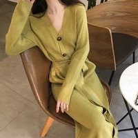 2021 sweater dress women knitted solid autumn winter warm knit female trenchcoat belt loose midi vestidos dresses big sizes