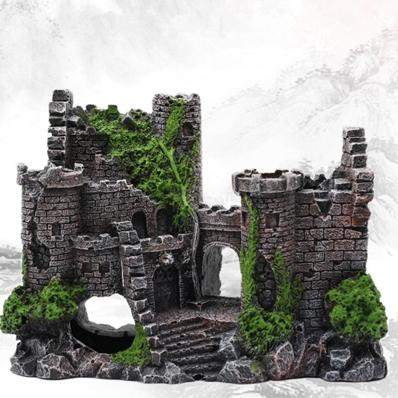 """Новая смола искусственные растения для аквариума древнее украшение """"замок"""" аквариумная скальная пещера украшение для строительства водная Ландшафтная орнамент"""